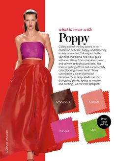 Spring/Summer: Color Charts from InStyle Magazine Poppy red Colour Combinations Fashion, Color Combinations For Clothes, Fashion Colours, Colorful Fashion, Color Combos, Color Mix, Red Color, Revista Instyle, Deep Winter Colors