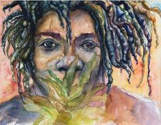 Art Painting Watercolor Rastafarian Dreadlock Black by vhmckenzie, $20.00