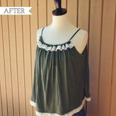 A pretty vintage top make with a pillowcase, ribbon and some lace