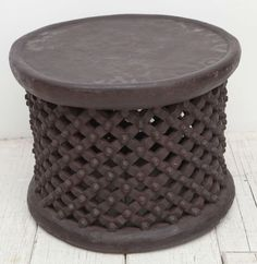 African Drum Side Table From Cameroon