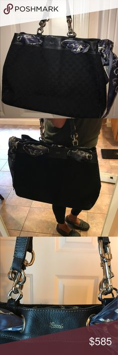 Gucci black tote This Gucci black tote has one hook missing but it's an easy fix. I have two kids so no time I just took them all together. Gucci Bags Totes