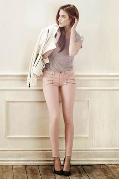 Pink zipper Skinnies, Gray Blouse And White Coat