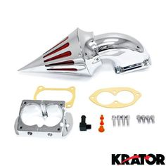 Krator® Motorcycle Chrome Spike Air Cleaner Intake Filter For 2008-2009 Kawasaki Vulcan 1600 Mean Streak