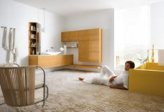 White Yellow Bathroom Design With Wood Washing Stand Bulb Pendant Light Cabinet And Large Area Fur Rug
