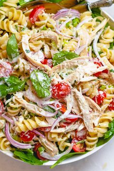 Chicken Spinach Pasta Salad with Creamy Ranch Dressing - A total crowd pleaser, perfect for potlucks and summer get togethers. : Chicken Spinach Pasta Salad with Creamy Ranch Dressing - A total crowd pleaser, perfect for potlucks and summer get togethers. Chicken Pasta Salad Recipes, Pasta Salad With Spinach, Chicken Spinach Pasta, Best Pasta Salad, Best Pasta Recipes, Pasta Salad Italian, Best Chicken Recipes, Soup And Salad, Beef Recipes