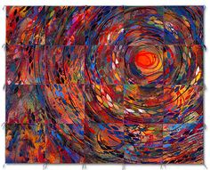 """NEST III :: 2002 - 62"""" x 77.5""""  dye and paint on silk, fused, mono-printed, machine quilted  Private Collection, Shalimar, FL :: Sue Benner"""