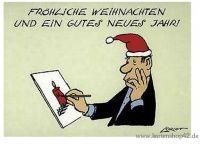 Fröhliche Weihnachten und ein gutes Neues Jahr- Loriot-Postkarte