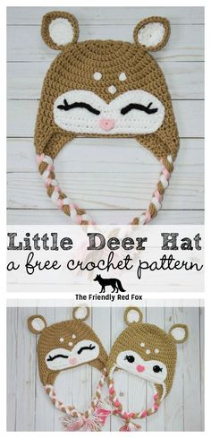 Crochet Baby Hats Free Crochet Little Deer Hat Pattern-Toddler, Child and Adult sizes! - This little crochet deer hat pattern came to me while my son watched Bambi on repeat. Really, I rather watch Bambi than Cars for the Crochet Animal Hats, Crochet Deer, Crochet Kids Hats, Crochet Beanie, Crochet Crafts, Crochet Projects, Free Crochet, Knitted Hats, Booties Crochet