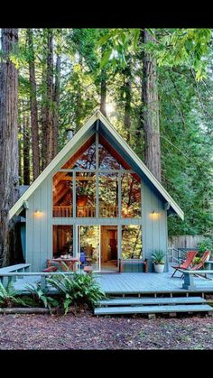 A-frame house in the forest woods