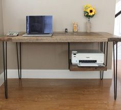 wood Desk Legs Office Spaces is part of Farmhouse desk - Welcome to Office Furniture, in this moment I'm going to teach you about wood Desk Legs Office Spaces Diy Wood Desk, Reclaimed Wood Desk, Diy Desk, Modern Wood Desk, Diy Computer Desk, Printer Shelf, Printer Desk, Printer Stand, Desk Legs
