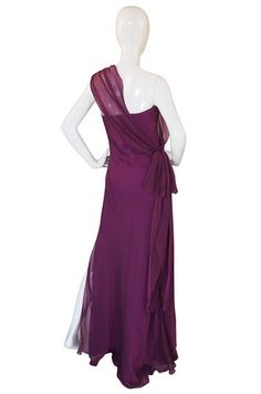 1990s Draped Silk Chiffon One Shoulder Ben de Lisi Dress