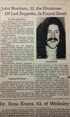 John Bonham newspaper Miss you Bonzo Hard Rock, Rock N Roll, Great Bands, Cool Bands, Beatles, Robert Plant Led Zeppelin, Newspaper Headlines, Newspaper Report, John Bonham