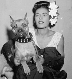 """Billie Holiday with her dog """"Mister,"""" 1946  Photo: William Gottlieb, via Library of Congress"""