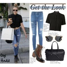 Get the Look: Gigi Hadid by helenevlacho on Polyvore featuring moda, Bed|Stu, Elizabeth and James, Alexander Wang, GetTheLook, StreetStyle, CelebrityStyle and gigihadid