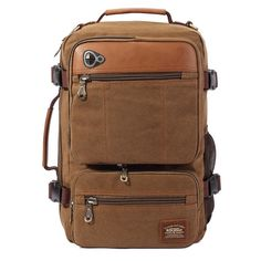 Color:  Khaki, Army Green,Black,Coffee   Material:  Canvas   Weight:  About 1325g   Brand:  KAUKKO   Length:  26cm(10.24inch)   Width:  14cm(5.51inch)   Height:  44cm(17.32inch) Capacity:Main Pocket,Front Pocket,Side Pocket,Phone Pocket,Card Pocket   Closure:  Zipper                   Package Included: 1 * Backpack
