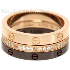 カルティエ リング ラブリング スリーフープ ダイヤモンド K18PGピンクゴールド ブラウンセラミック リングサイズ50 B4097900 Cartier 指輪 ジュエリー LOVE RING 3 HOOPS