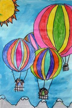 Would be good for Color Theory lesson--one balloon in cool colors, one in warm colors, complimentary and so on. Drawing For Kids, Art For Kids, Grade 1 Art, Classroom Art Projects, Art Prints For Home, Art Lessons Elementary, Art Club, Summer Art, Art Plastique