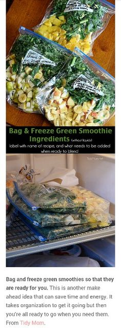 Bag and freeze smoothies