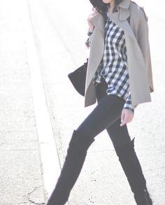 7 For All Mankind pants, Equipment blouse, Stella McCartney coat, Miu Miu boots, Celine bag.