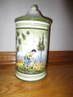 Vintage Italian Hand Painted Jar Singed Made in Italy Country Style | eBay