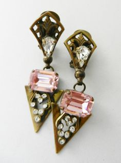 Rare great vintage, earrings Italian 1950 - Large and perfect crystals for a jewel collectible--Art.468/2--