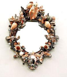 Spectacular Sea Shell Mirror by Douglas Cloutier in Antiques, Decorative Arts, Mirrors Seashell Art, Seashell Crafts, Beach Crafts, Nautical Furniture, Seashell Projects, Shell Decorations, Beach Design, Ocean Art, Beach Art