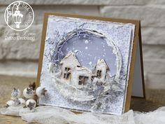 christmas card, mixed media, houses