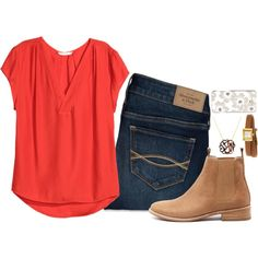 A fashion look from July 2016 featuring H&M blouses, Abercrombie & Fitch jeans and Mollini ankle booties. Browse and shop related looks.