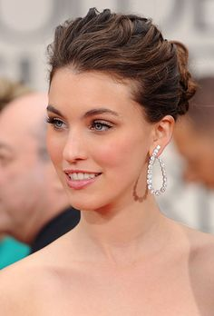 Romantic, Wavy Wedding Updo -  Rainey Qualley at the 2012 Golden Globes |