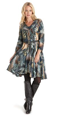 LOVE the flowy dress with the boots!