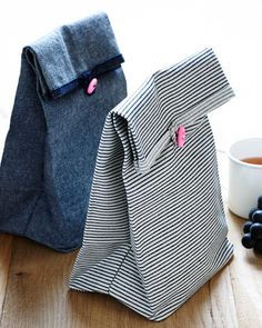 Button Lunch Bags - LOVE the use of denim for this #DIY