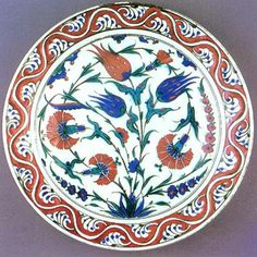 An Iznik plate, a good example of when chinese elements infiltrated the arts of Islam. The word for tulip in Arabic shares the same letters as the word for god, hence the proliferation of the flower in an art form that supposedly banned the depiction of animals and humans