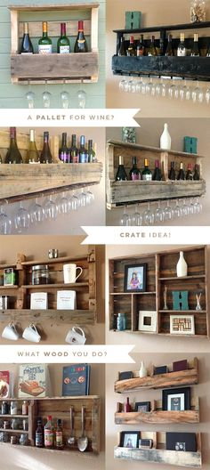 Reclaimed Pallet Shelves.  Genius and beautiful! Bar