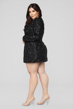Not Afraid To Sparkle Dress - Black Plus Size Dresses, Plus Size Outfits, Black Sparkle Dress, Dress Black, Curvy Women Fashion, Womens Fashion, Pernas Sexy, Plus Sise, Curvy Girl Outfits