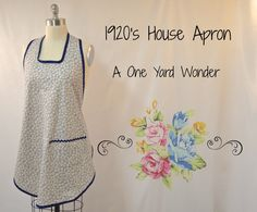 If you have an urge to use up some of your fabric stash, or simply have an hour to spare for some much needed crafting time, try this easy tutorial to make a charming slip-over apron. Based on an … Apron Pattern Free, Vintage Apron Pattern, Aprons Vintage, Sewing Patterns Free, Free Sewing, Apron Patterns, Retro Apron, Dress Patterns, Embroidery Patterns