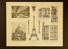 1905 Architecture of Paris an original antique print by SeidrCraft