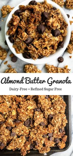 Healthy Snacks This is a super easy healthy almond butter granola recipe. It is made from almond butter, no refined sugar, and can be made gluten free. It isn't overly sweet and is a real crowd-pleaser. Healthy Vegan Dessert, Healthy Drinks, Healthy Snacks, Healthy Granola Recipe, Almond Granola Recipe, Gluten Free Granola, Healthy Brunch, Healthy Sugar, Breakfast Healthy