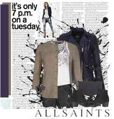 """AllSaints"" by nikkeeb ❤ liked on Polyvore"