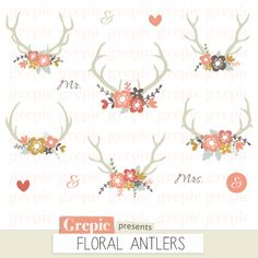 Floral Antlers Rustic Wedding Clipart Antler Clip Art Bouquet Vintage Flowers Shabby Wreaths Deer Invitations Digitalpaper