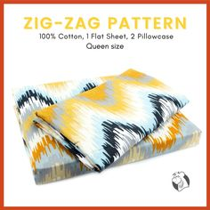 Go ahead and add a little splash of some earth tones to your queen size bedroom. A combination of yellow, grey-black watercolour unique zig-zag set adorned in a soothing pattern that will enhance the look and style of any room in your home. Made from 100% cotton and get more comfortable with every wash. Includes one flat sheet and two pillowcases. #balooworldotca #bedlinen #bedding #bedroom #bedsheets #cottonbedding #cottonbedsheet #cottonbedsheet #cheerful #zigzag #watercolourprints Cotton Bedding, Linen Bedding, Flat Sheets, Bed Sheets, Watercolor Pattern, Watercolour, Zig Zag Pattern, Clothes Line, Earth Tones