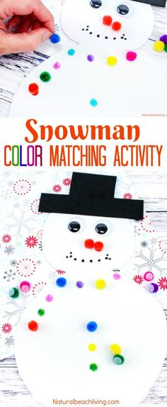 Easy Snowman Color Matching Activity for Preschool and Toddlers