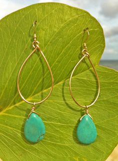 Delia - Turquoise teardrop on a handcrafted wire hoop. A perennial favorite for all occasions that brightens up your outfit.