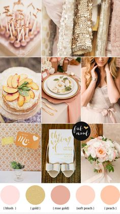 peach blush rose gold wedding palette