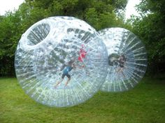 I found the next competition challenge for the Funk / Johnston  cook out! Human Hamster Balls!!!