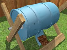 How to Build a Tumbling Composter -- via wikiHow.com.  Site includes several short videos for instruction.