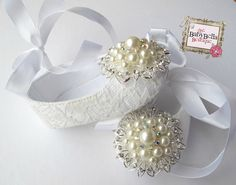 Baby Girl  white lace   Crib Shoes  ,Baby Shoes,Christening, Baptism, Wedding, Ready to ship. $28.50, via Etsy.