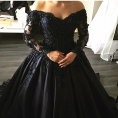 Navy Blue Lace Appliques Long Sleeves Ball Gowns Wedding Dresses Off Shoulder