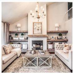 Wood shelving ♥️ simple, beautiful, perfect! @adornedhomes #openshelving #woodshelf #livingroom #farmhousechic #farmhousestyle #interiordecor #design #decor #homedecor #fireplace