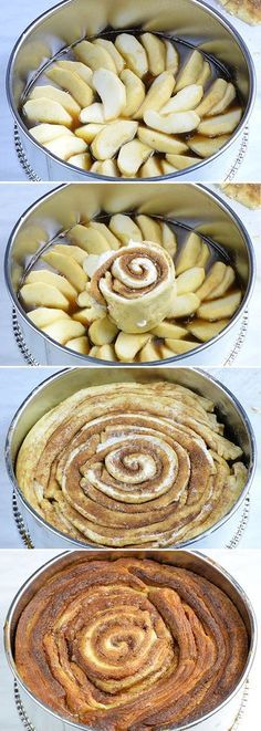 Four steps of preparation Upside Down Apple Cinnamon Roll Cake . Upside Down Apple Cinnamon Roll Cake is like giant cinnamon roll, only better having cream cheese filling and ooey-gooey homemade caramel sauce and fresh apples on top. Cinnamon Recipes, Baking Recipes, Cake Recipes, Dessert Recipes, Apple Cinnamon Rolls, Cinnamon Roll Cakes, Apple Cinnamon Muffins, Cinnamon Desserts, Apple Desserts