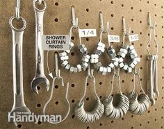 Hardware Storage: DIY Tips and Hints - Article | The Family Handyman -- Shower curtain rings used for nut and washer storage :: Lc-. . . Or holding similar cookie/fondant/gum paste cutters together..? :-)